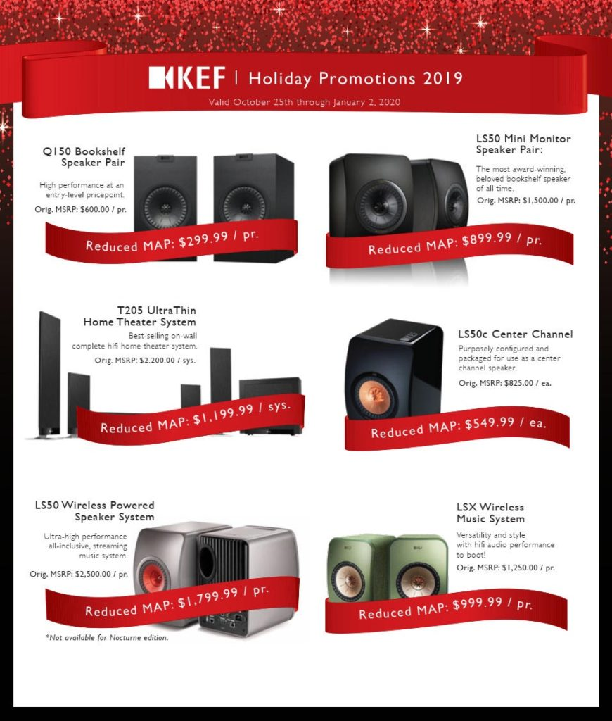 KEF Audio Holiday Promotions 2019